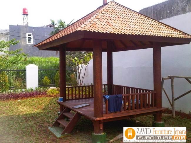 gazebo-kayu-kelapa Jual Gazebo Kayu Kelapa/ Glugu Model Minimalis Untuk Taman