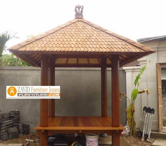 gazebo-murah-kayu-kelapa Jual Gazebo Kayu Kelapa/ Glugu Model Minimalis Untuk Taman