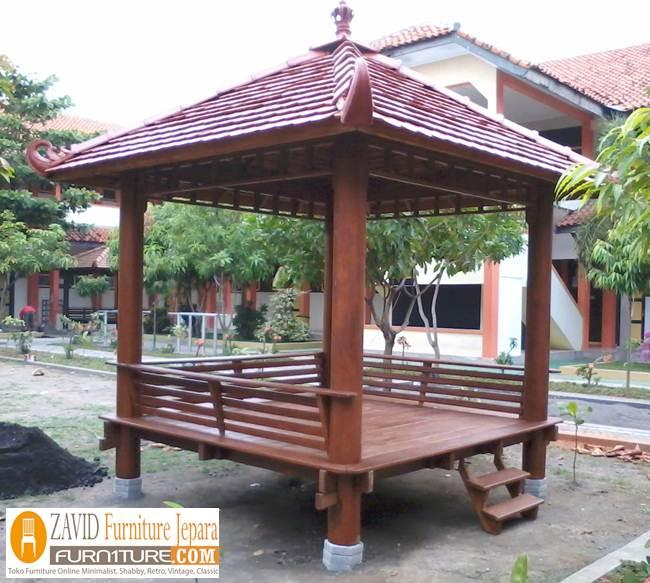 gazebo-taman-glugu Jual Gazebo Kayu Kelapa/ Glugu Model Minimalis Untuk Taman