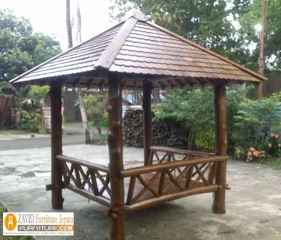 harga-gazebo-atap-sirap-minimalis Jual Gazebo Taman Atas Sirap Harga Murah