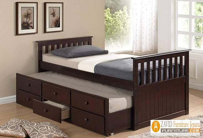 jual dipan tidur anak remaja kayu jati - Jual Tempat Tidur Sorong Remaja dengan Laci Minimalis
