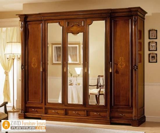 jual-lemari-pakaian-mewah-5-pintu Harga Lemari Pakaian 5 & 6 Pintu Kayu Jati Solid Mewah