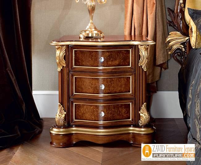 jual meja nakas klasik untuk kamar - Meja Nakas Jati Mewah Klasik Untuk Kamar