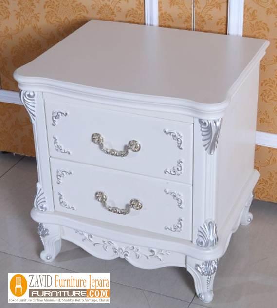 jual-meja-nakas-putih Meja Nakas Kamar Putih Duco Klasik Mewah