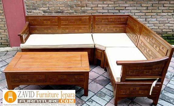 Kursi Tamu Kayu Jati Kursi Sudut Minimalis Ukiran Zavid Furniture