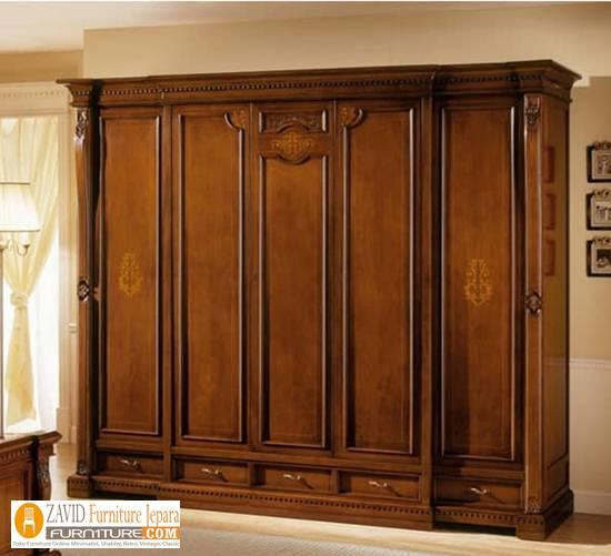 lemari-pakaian-mewah-5-pintu-kayu-jati Harga Lemari Pakaian 5 & 6 Pintu Kayu Jati Solid Mewah