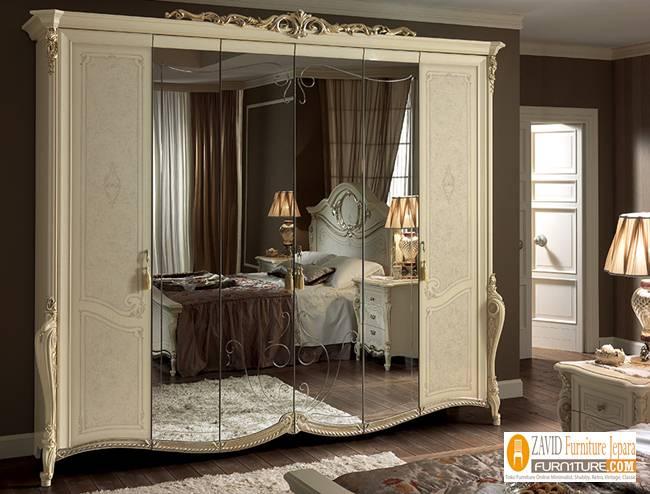 lemari-pakaian-mewah-6-pintu-kaca Harga Lemari Pakaian 5 & 6 Pintu Kayu Jati Solid Mewah