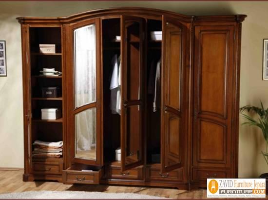 lemari-pakaian-mewah-minimalis-jati-5-pintu Harga Lemari Pakaian 5 & 6 Pintu Kayu Jati Solid Mewah