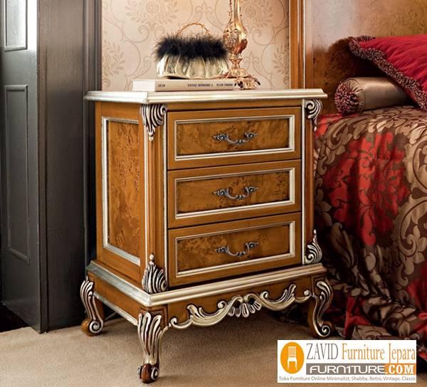 meja nakas kamar klasik kayu jati - Meja Nakas Jati Mewah Klasik Untuk Kamar