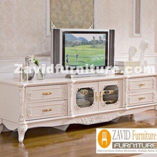 Meja Tv Bandung Mewah Ukiran 4 Laci Putih