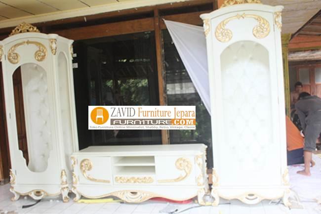meja-tv-mewah-duco-putih-ukiran Set Meja Lemari Tv Mewah Ukiran Klasik Duco