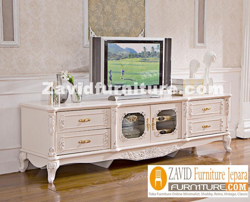 meja-tv-mewah Meja Tv Bandung Mewah Ukiran 4 Laci Putih