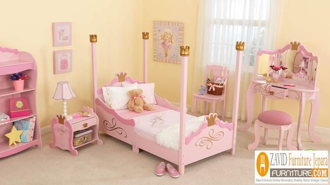 set-kamar-anak-dengan-tema-princess Tempat Tidur Anak Perempuan Karakter Princess