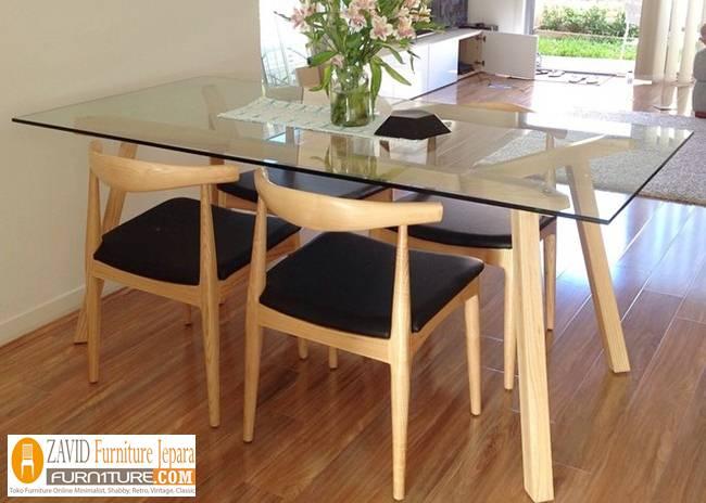 set-meja-makan-kaca-4-kursi Set Meja Makan Kaca Minimalis Sederhana Kayu Jati