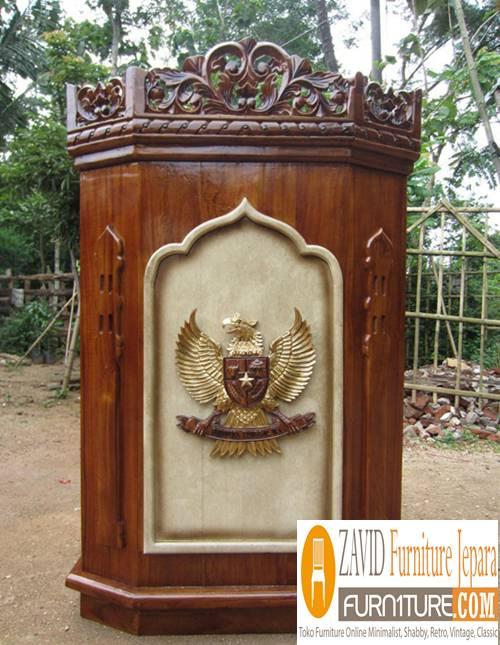 Harga-Mimbar-jati-ukiran Podium Masjid dan Mimbar Masjid Minimalis, Jual Harga Murah