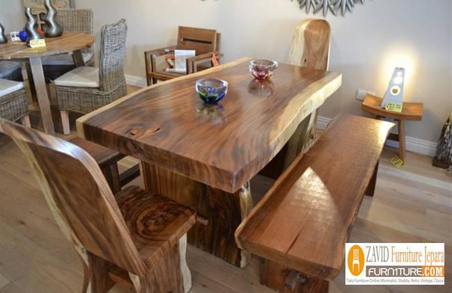 Set-Meja-Makan-Modern-kayu-suar-solid Jual Meja Kayu Suar Solid Untuk Makan Harga Murah