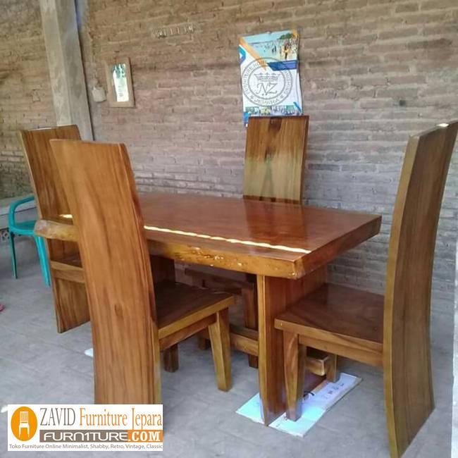 meja-makan-suar-minimalis Jual Meja Kayu Suar Solid Untuk Makan Harga Murah