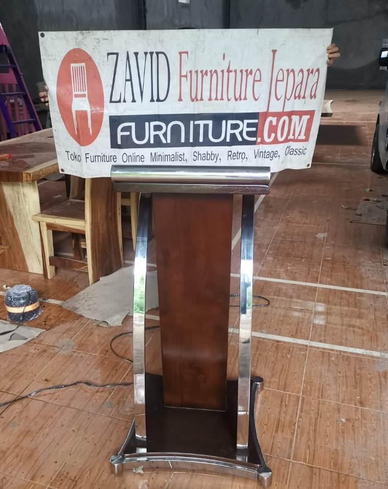 jual podium stainless kayu jati solid - Jual Mimbar Masjid Di Jakarta Terbaru Dari Furniture Zavid