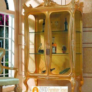 Lemari Hias Kaca Semarang Mewah Model Kaki Tinggi