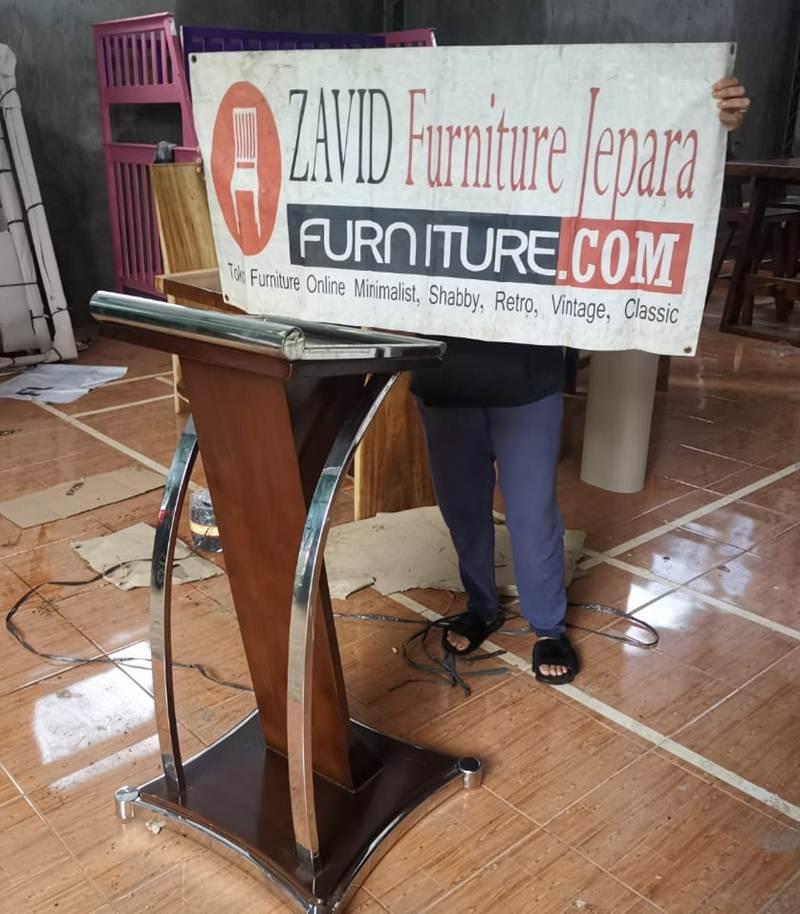podium stainless kayu jati - Jual Mimbar Podium Stainless Minimalis Modern