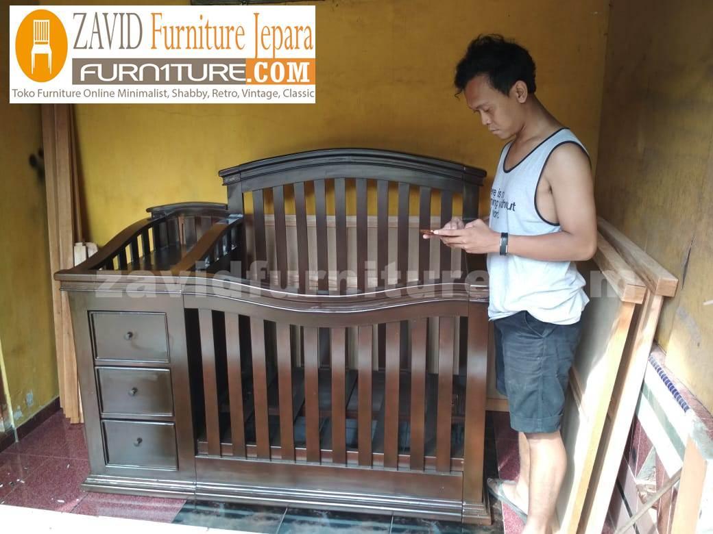 real pict zavidfurniture - Jual Box Bayi Bali Kayu Jati Model 3 Laci Minimalis