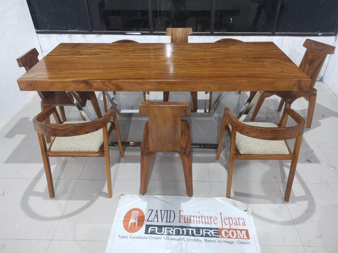set meja makan trembesi - Meja Trembesi Kaki Stainless Steel Anti Karat Terlaris