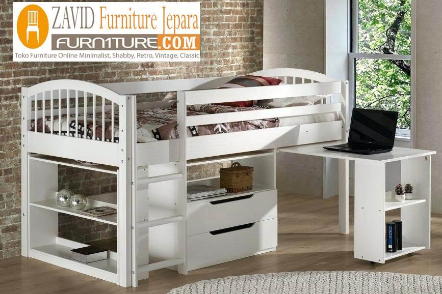 tempat-tidur-anak-tingkat-meja-belajar Tempat Tidur Anak Bogor Tingkat Warna Putih Model Baru