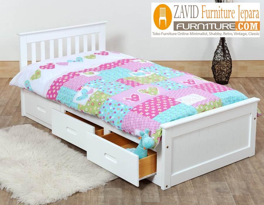 tempat tidur laci duco - Tempat Tidur Anak Solo 3 Laci Minimalis Duco