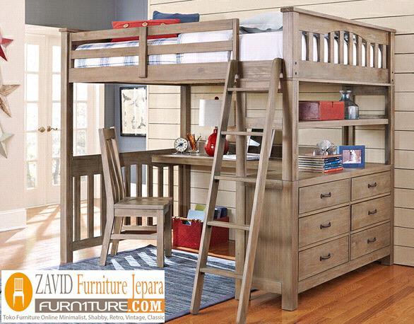 bunk-bed-meja-belajar Tempat Tidur Tingkat Anak Kayu Jati Desain Dengan Meja Belajar Terbaru