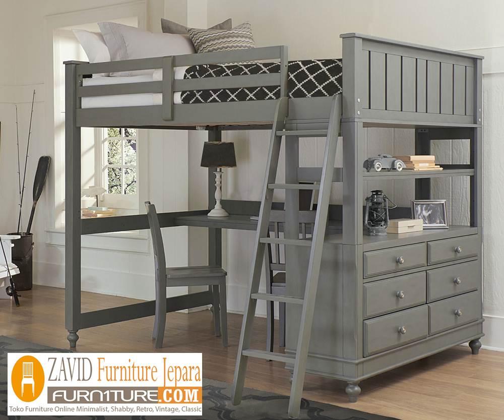 bunk-bed-meja-belajar2 Tempat Tidur Tingkat Anak Kayu Jati Desain Dengan Meja Belajar Terbaru