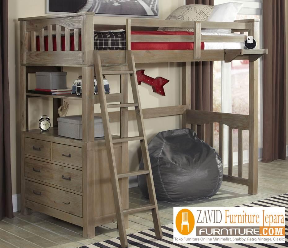 bunk-bed-meja-belajar3 Tempat Tidur Tingkat Anak Kayu Jati Desain Dengan Meja Belajar Terbaru