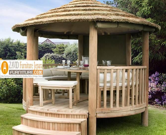gazebo-taman-kayu-jati-1 Jual Gazebo Taman Kayu Jati Model Atap Kerucut Terbaru