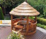 Jual Gazebo Taman Kayu Jati Model Atap Kerucut Terbaru