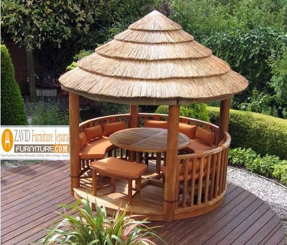 gazebo-taman-kayu-jati2 Jual Gazebo Taman Kayu Jati Model Atap Kerucut Terbaru