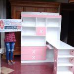 Meja Belajar Anak Perempuan Warna Pink Putih Model Pojok Terbaru