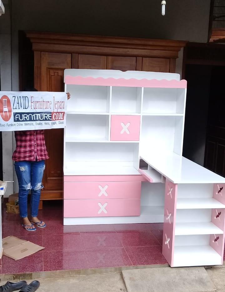 real-pict-meja-belajar2 Meja Belajar Anak Perempuan Warna Pink Putih Model Pojok Terbaru