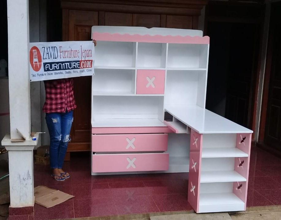 real-pict-meja-belajar3 Meja Belajar Anak Perempuan Warna Pink Putih Model Pojok Terbaru