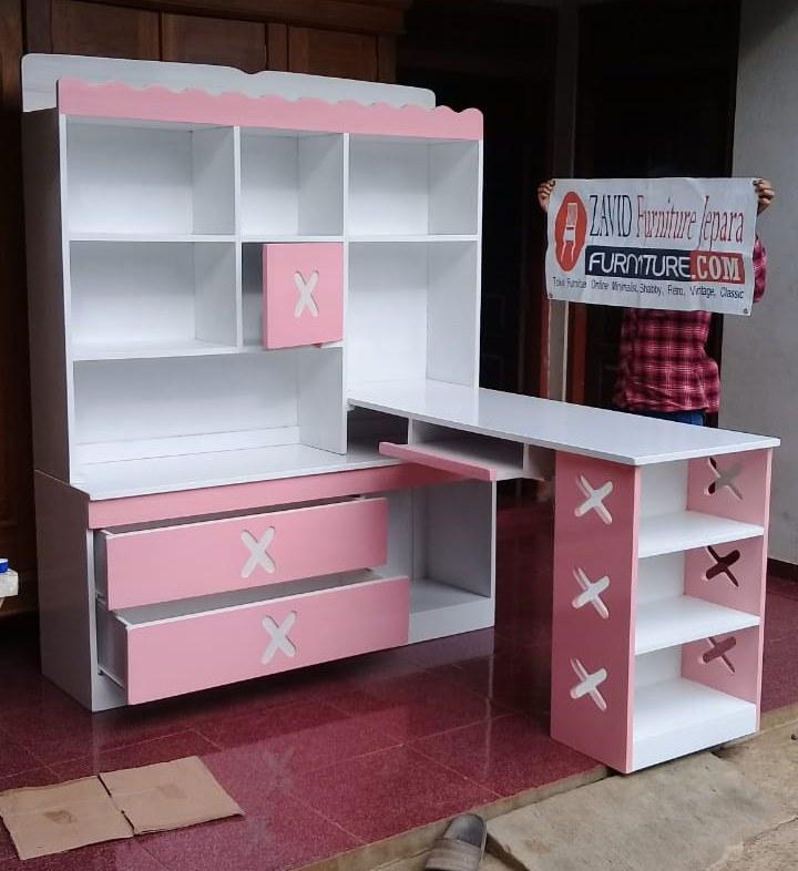 real-pict-meja-belajar7 Meja Belajar Anak Perempuan Warna Pink Putih Model Pojok Terbaru