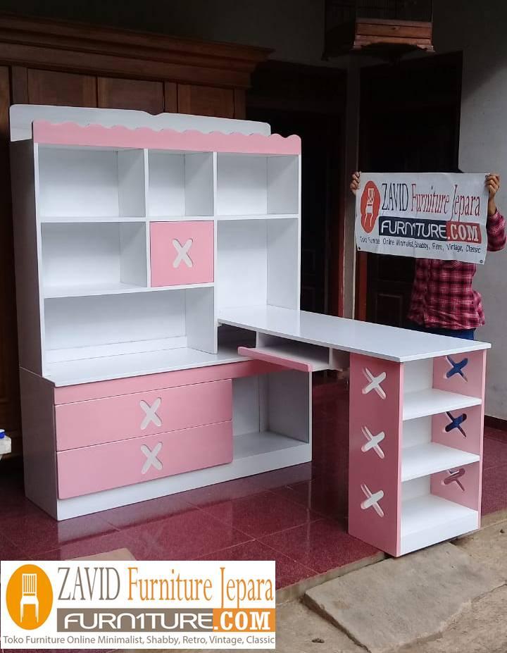 Meja Belajar Anak Perempuan Warna Pink Putih Model Pojok
