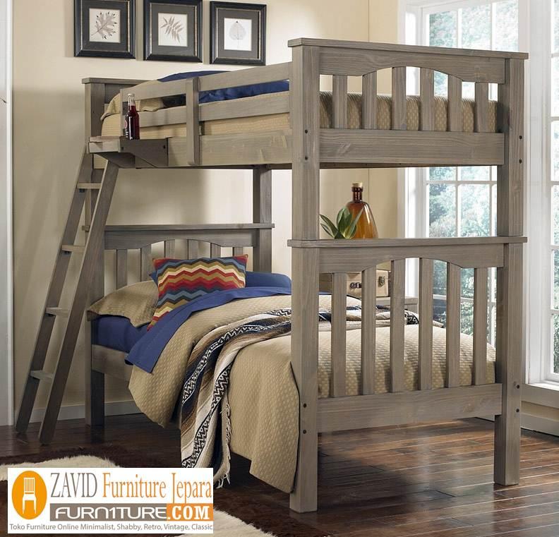 tempat-tidur-tingkat-minimalis Jual Tempat Tidur Anak Tingkat Kayu Jati Solid Minimalis Model Dua Ranjang