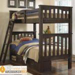 Jual Tempat Tidur Anak Tingkat Kayu Jati Solid Minimalis Model Dua Ranjang