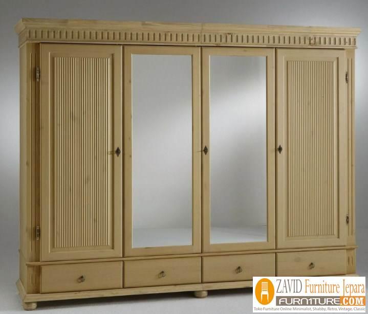 lemari pakaian 4 pintu minimalis - Jual Lemari Pakaian 4 Pintu Mewah Kayu Jati Model Terbaru