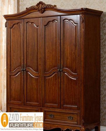 lemari pakaian kayu jati - Jual Lemari Pakaian 4 Pintu Mewah Kayu Jati Model Terbaru