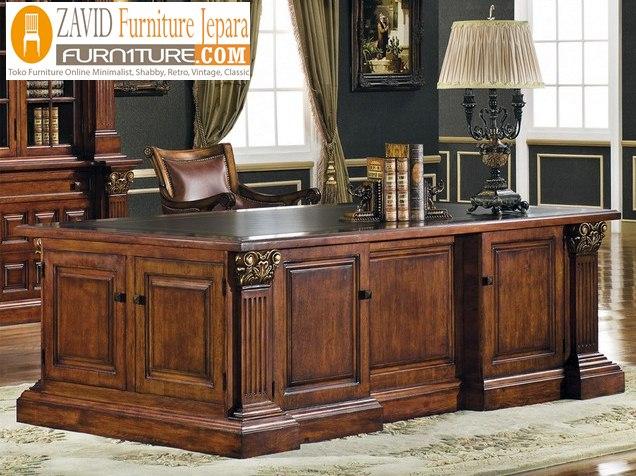 meja kantor kayu jati - Meja Direktur Kantor Medan Kayu Jati Minimalis