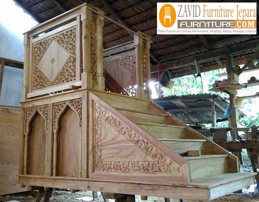 mimbar-masjid. Mimbar Masjid Kayu Jati Mewah Ukiran Relief Terbaru Kualitas Terbaik