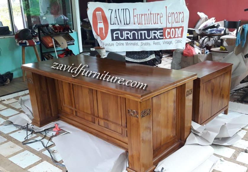 real pict meja direktur kantor 2 - Jual Meja Direktur Kantor Bogor Model Sudut Kayu Jati