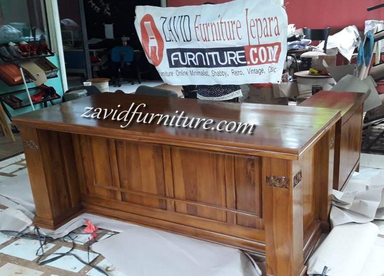 real-pict-meja-direktur-kantor-3 Jual Meja Direktur Kantor Bogor Model Sudut Kayu Jati