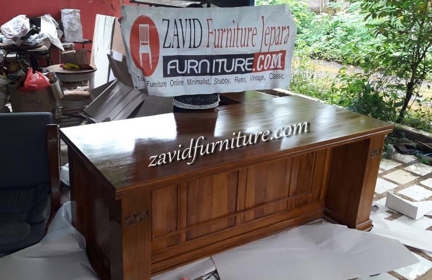 real-pict-meja-direktur-kantor Jual Meja Direktur Kantor Bogor Model Sudut Kayu Jati