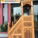 Mimbar Masjid Kayu Jati Mewah Ukiran Relief Terbaru Kualitas Terbaik