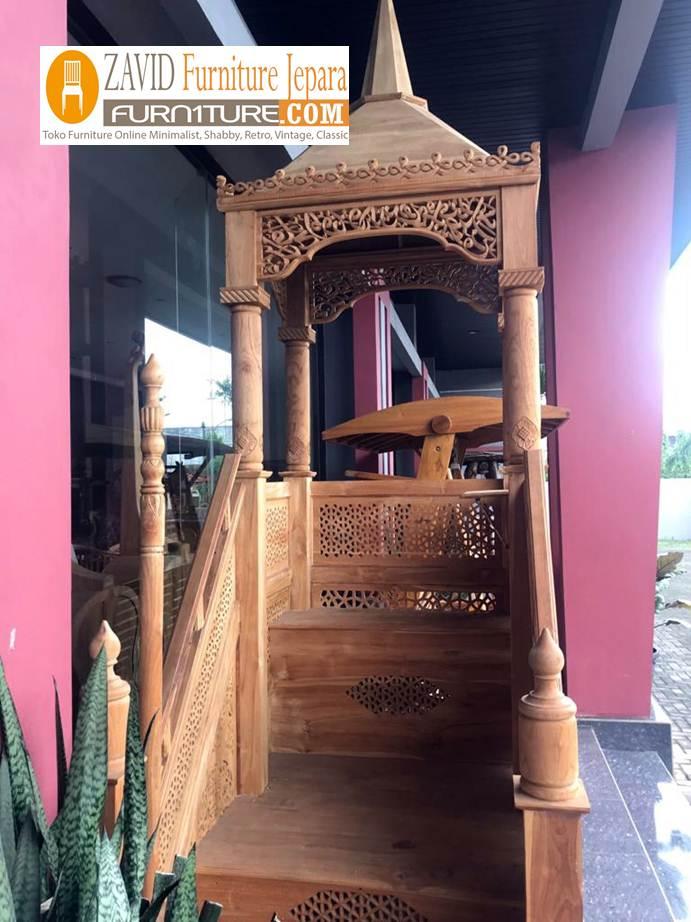real-pict-mimbar-2 Mimbar Masjid Kayu Jati Mewah Ukiran Relief Terbaru Kualitas Terbaik